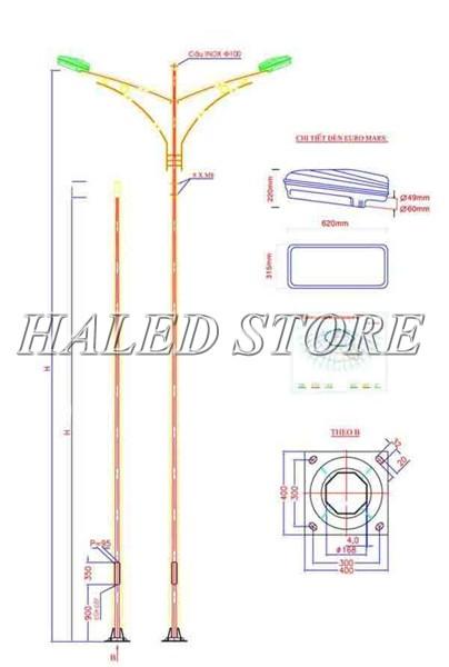 Kiểu dáng cột đèn cao áp bát giác 6m bát giác rời cần kép