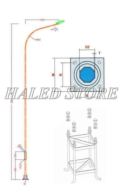 Trụ đèn cao áp 6m bát giác liền cần đơn