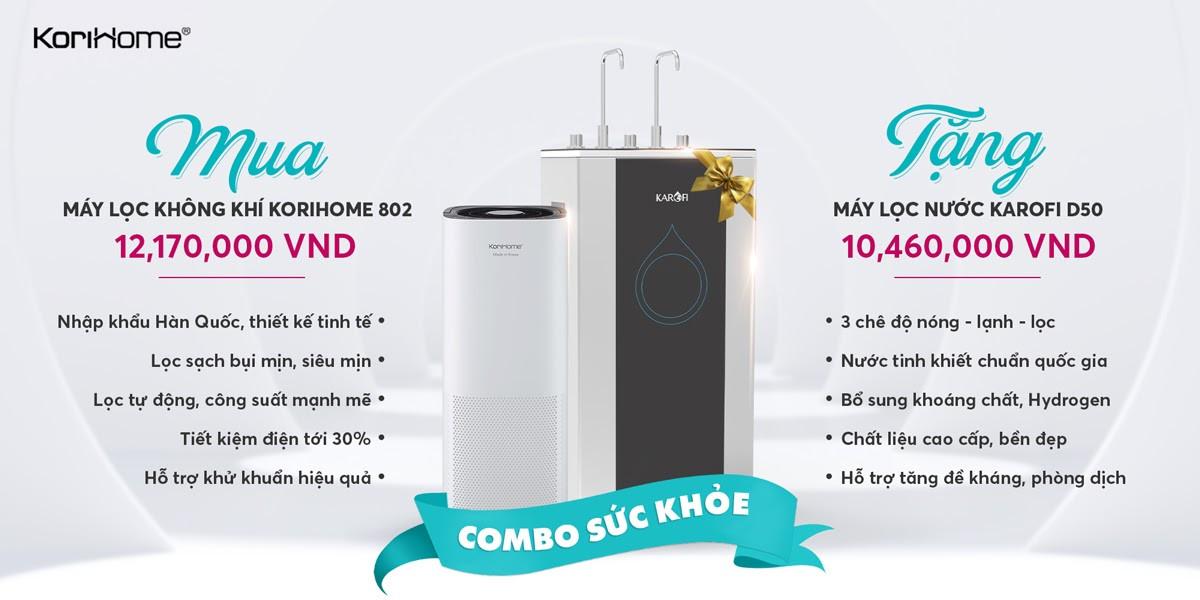Mua máy lọc không khí KoriHome 803 giá 12,170,000 VNĐ TẶNG máy lọc nước Karofi D50 trị giá 10,460,000 VNĐ.