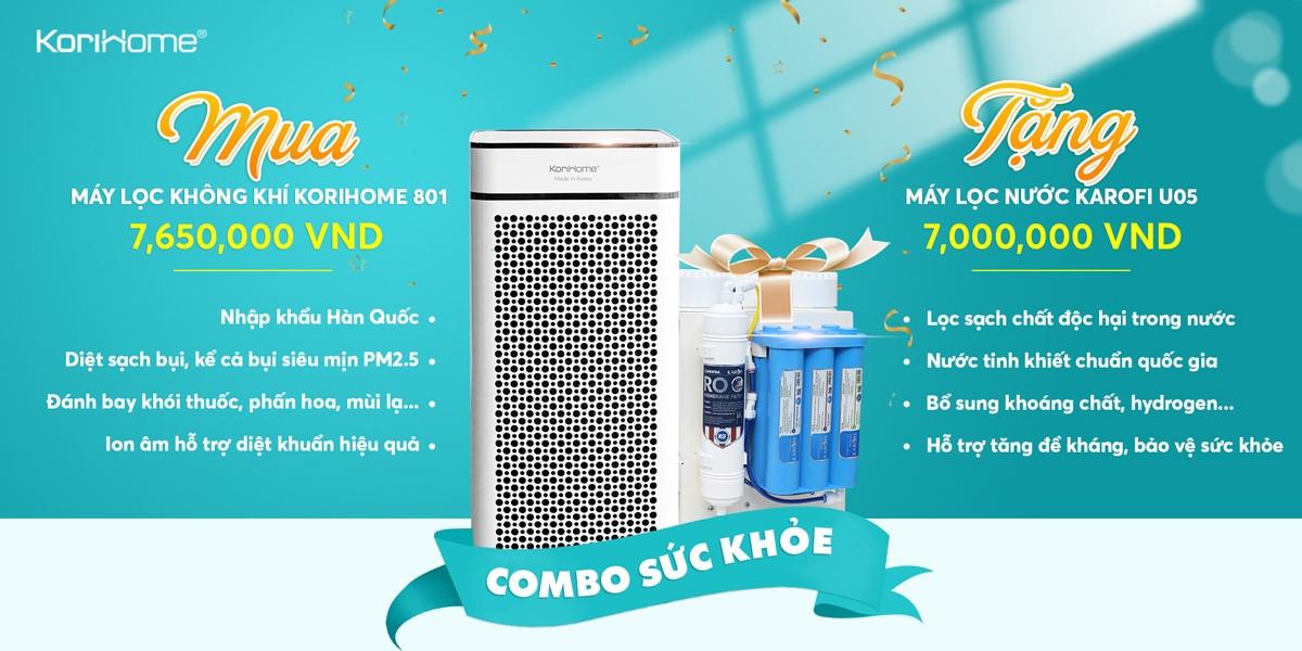 Mua máy lọc không khí KoriHome 801 giá 7,650,000 VND TẶNG máy lọc nước Karofi U05 trị giá 7,000,000 VND.