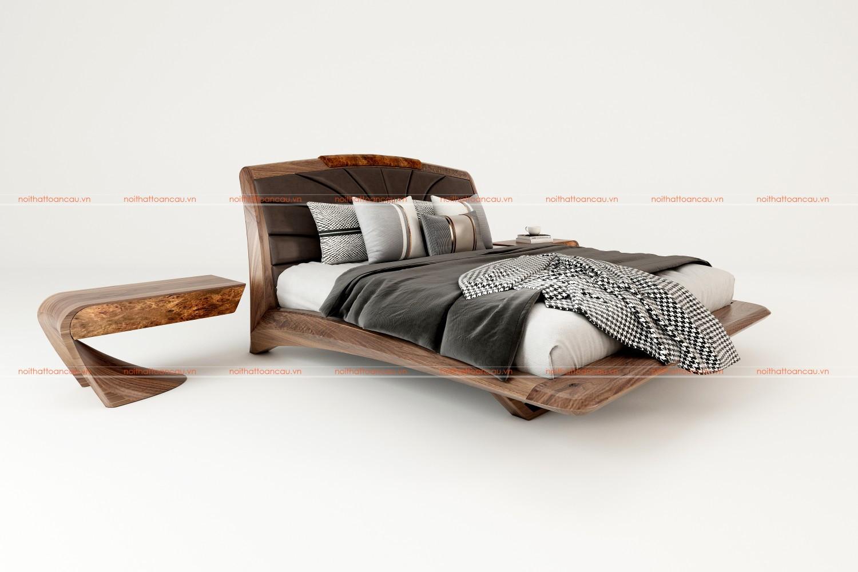 Giường ngủ gỗ óc chó 2021 c
