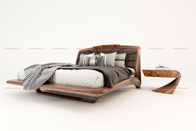 Giường ngủ gỗ óc chó 2021 b