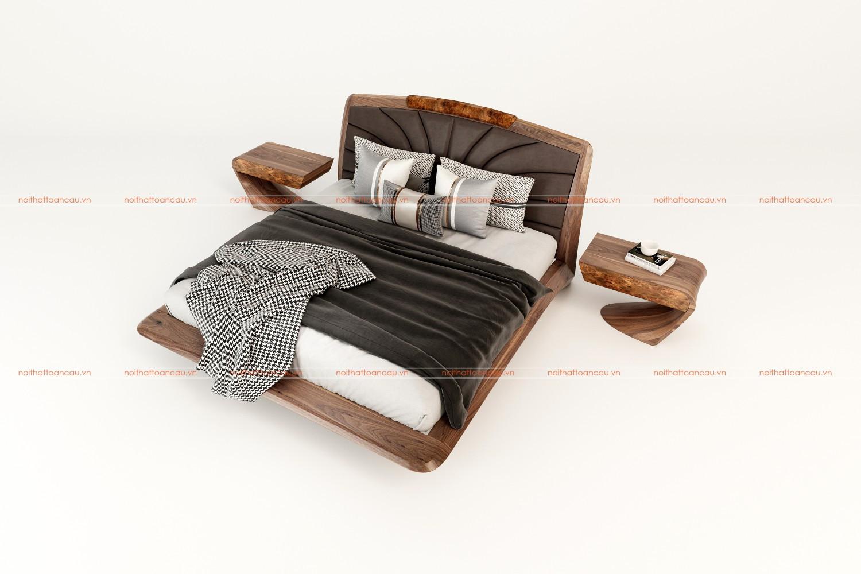 Giường ngủ gỗ óc chó 2021 d