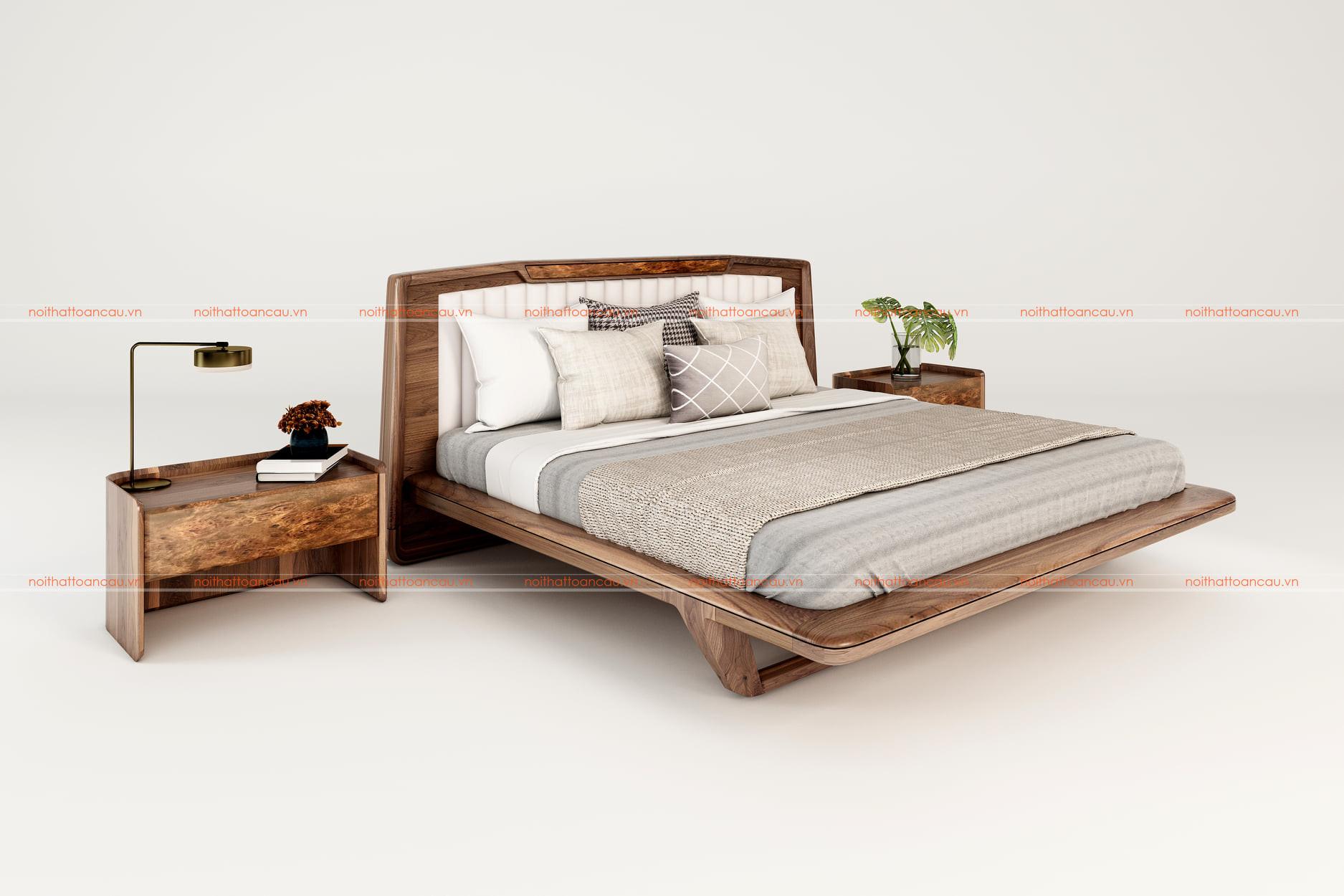 Giường gỗ óc chó hiện đại 1170 b