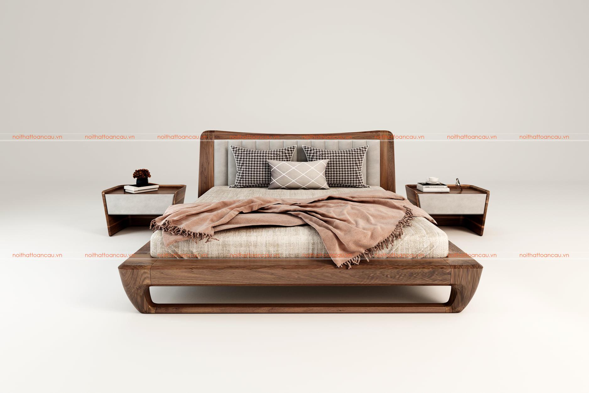Giường ngủ gỗ óc chó tự nhiên 159