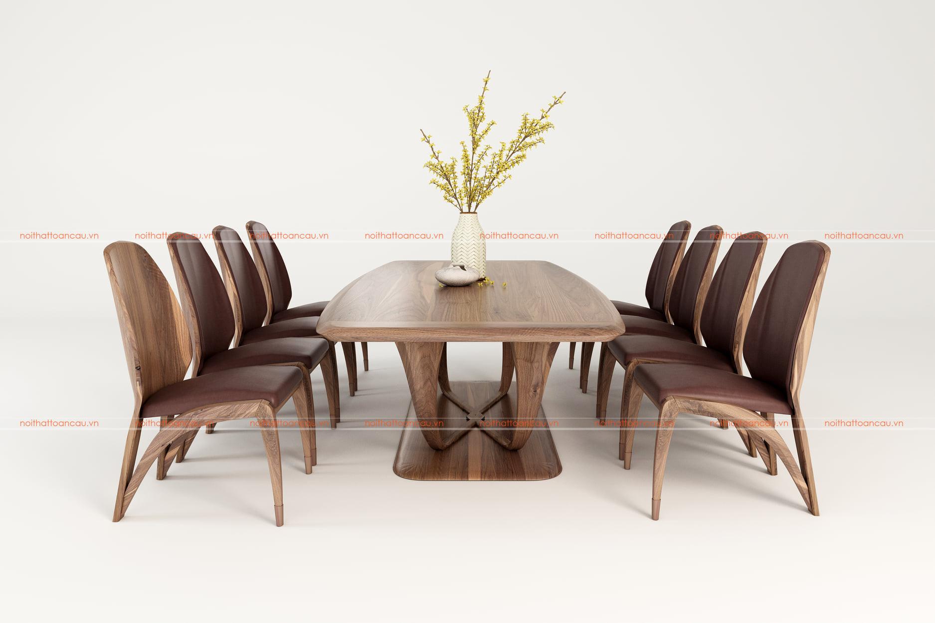 Bộ bàn ăn 8 ghế gỗ óc chó - TC816 b