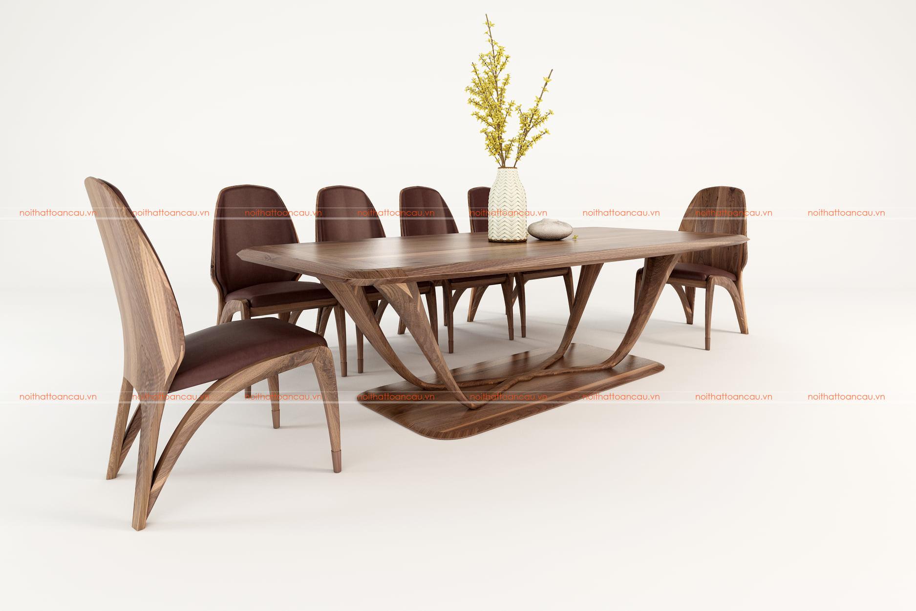 Bộ bàn ăn 8 ghế gỗ óc chó - TC816