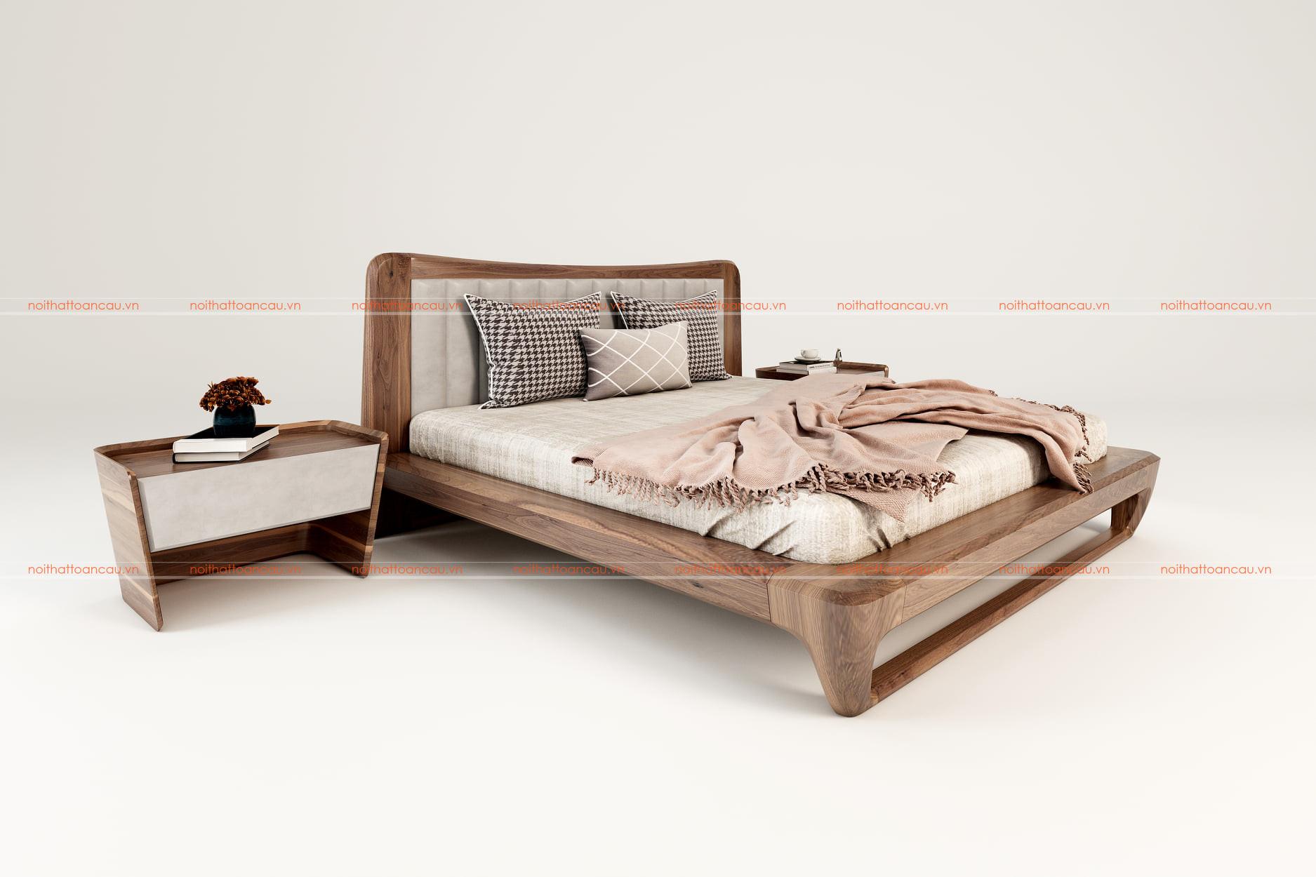 Giường ngủ gỗ óc chó tự nhiên 159 c
