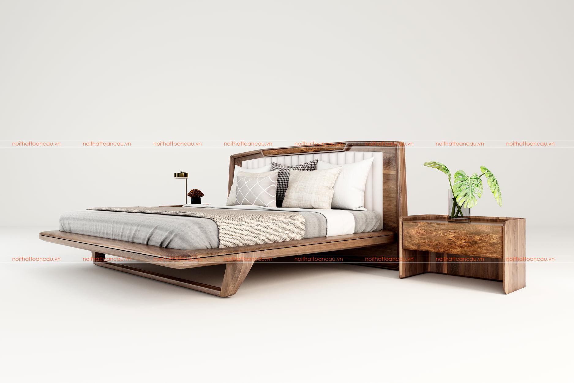 Giường gỗ óc chó hiện đại 1170