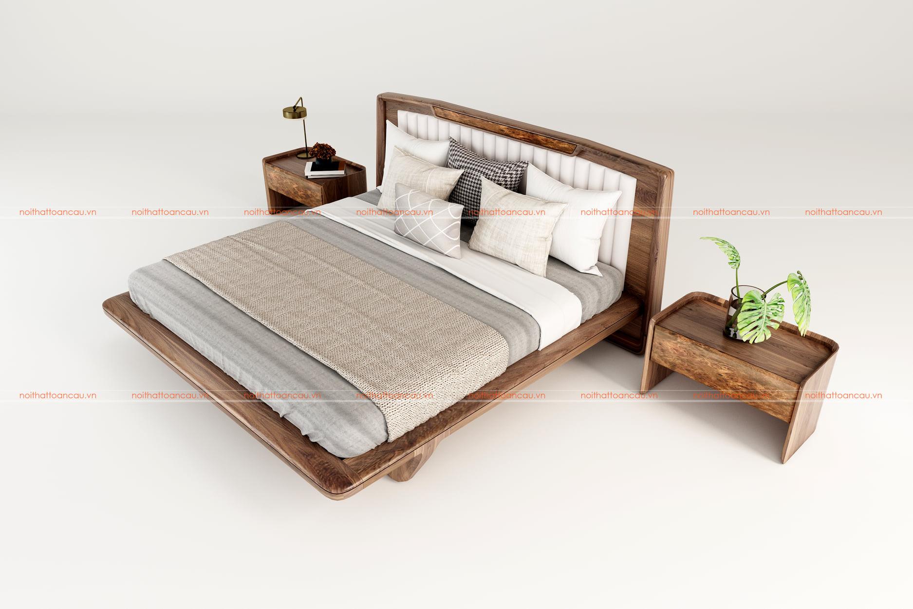 Giường gỗ óc chó hiện đại 1170 d