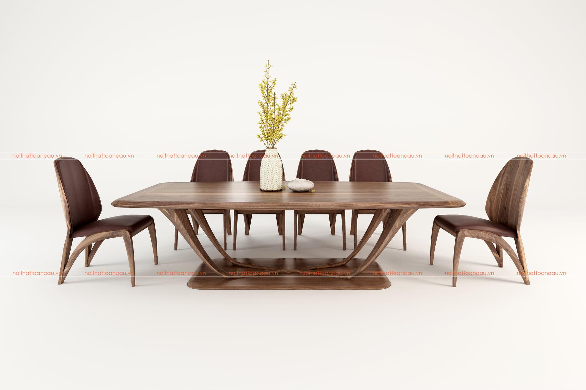 Bộ bàn ăn 8 ghế gỗ óc chó - TC816c