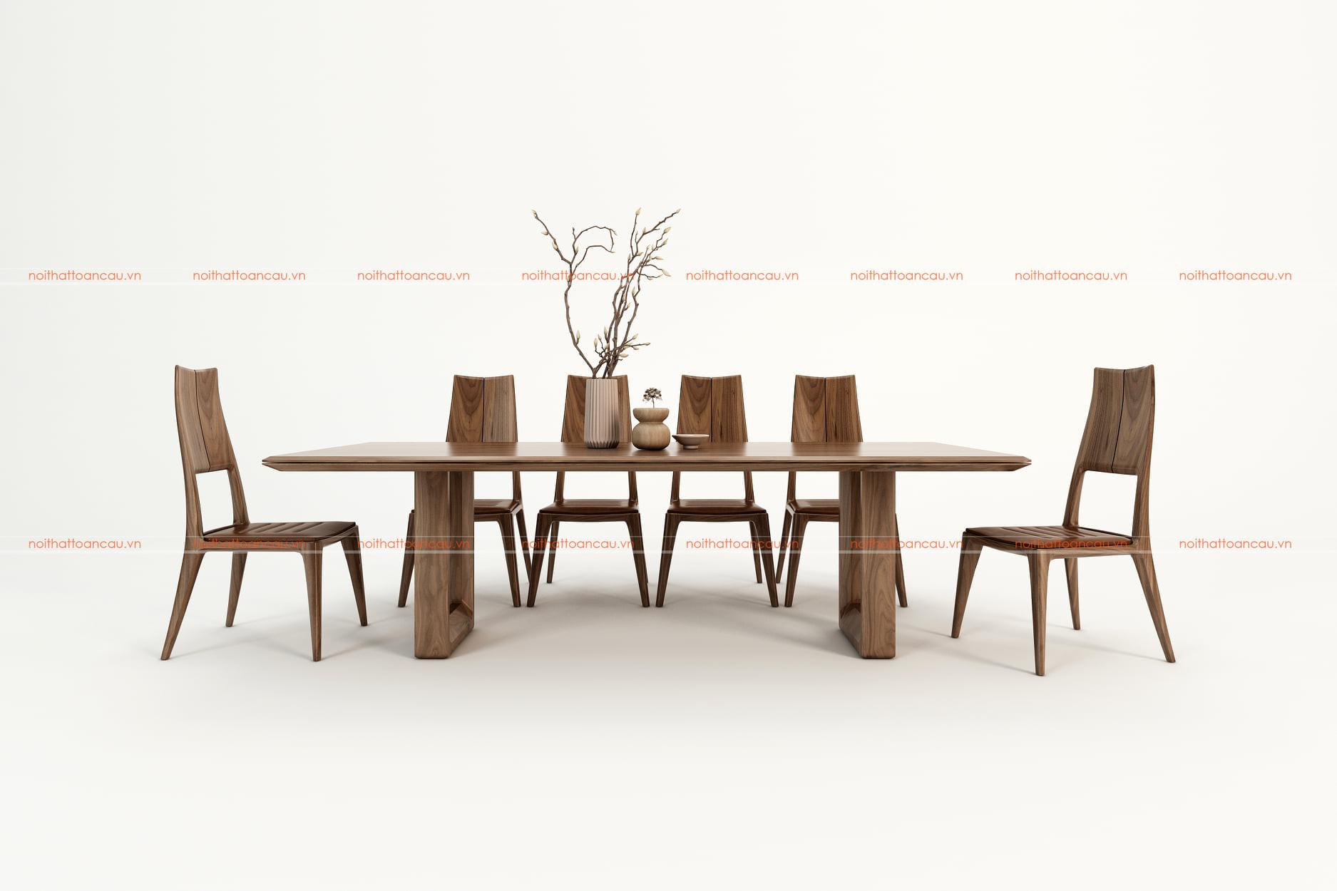 Bàn ghế ăn gỗ óc chó tự nhiên tc811
