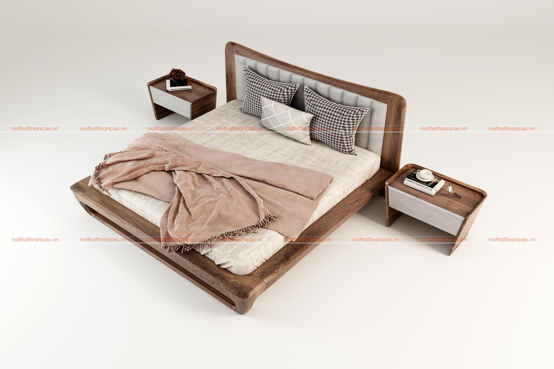 Giường ngủ gỗ óc chó tự nhiên 159 d