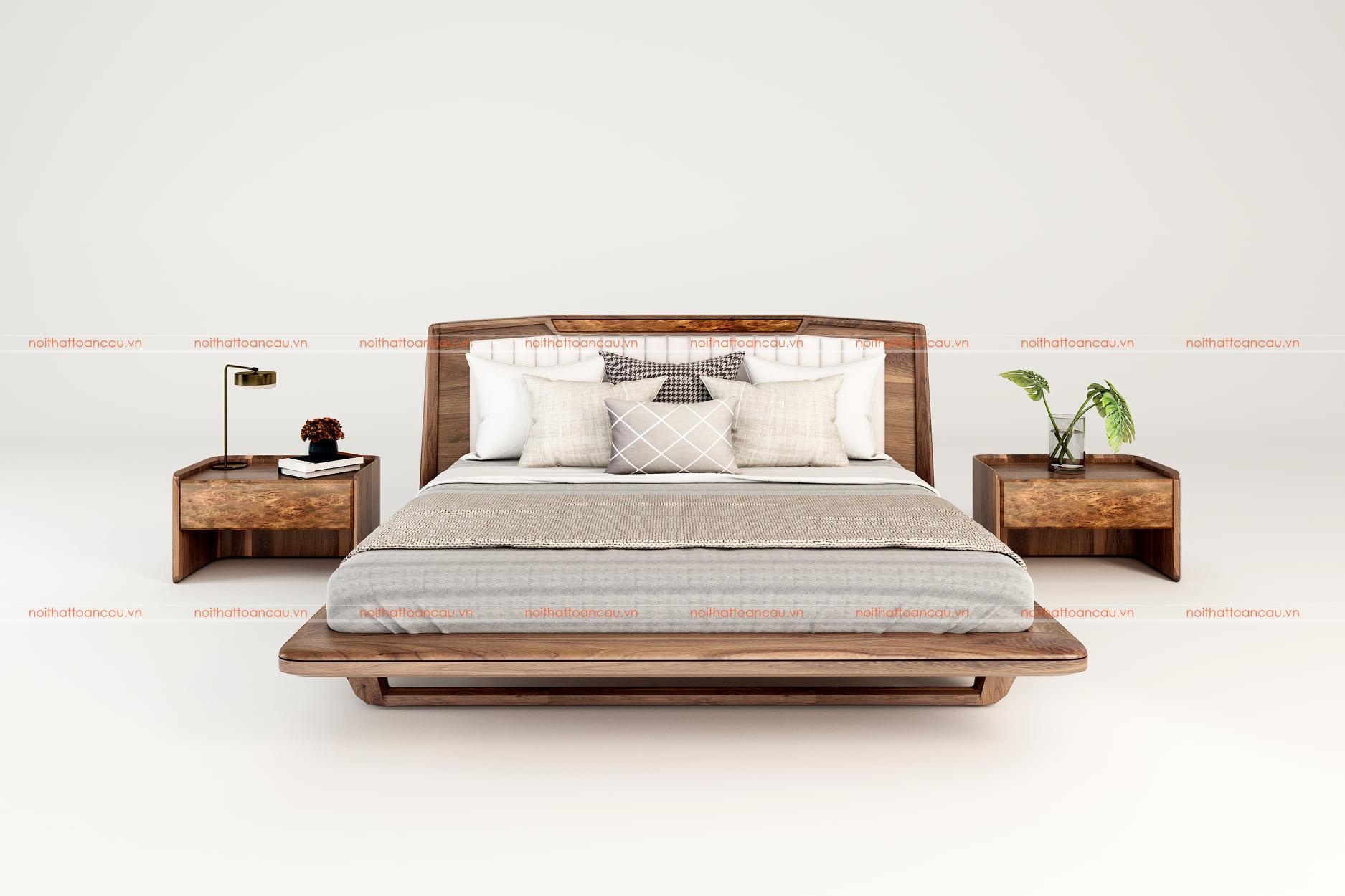 Giường gỗ óc chó hiện đại 1170 c