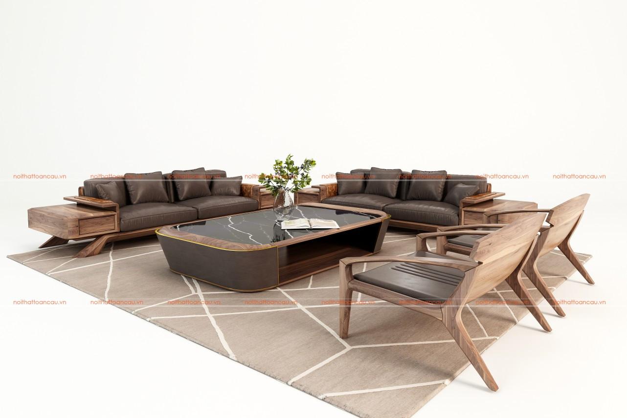 Bàn ghế sofa gỗ óc chó TC128 b