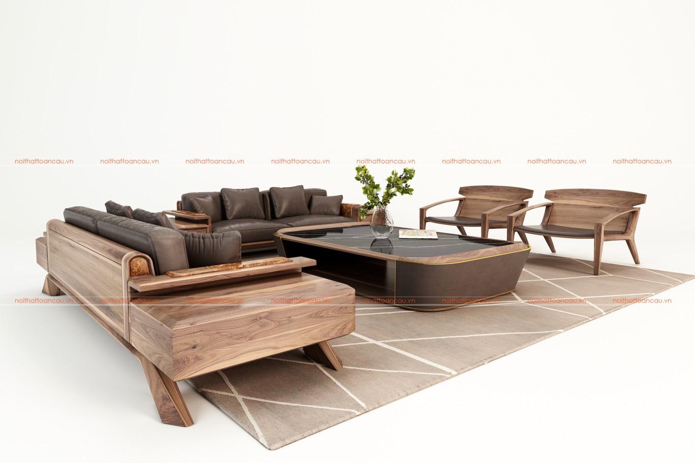 Bàn ghế sofa gỗ óc chó TC128 e