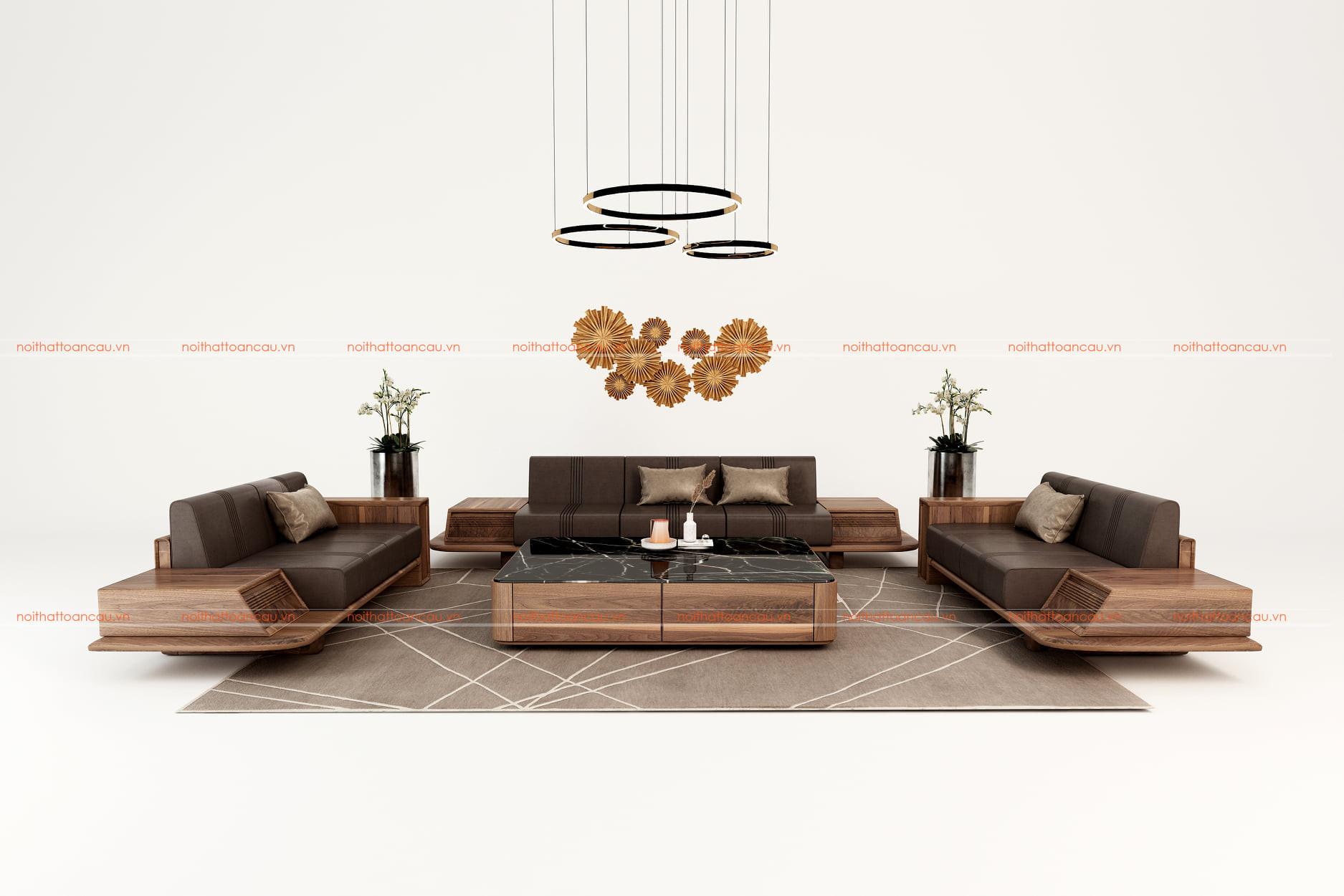 Sofa gỗ óc chó cho phòng khách hiện đại - TC140 c