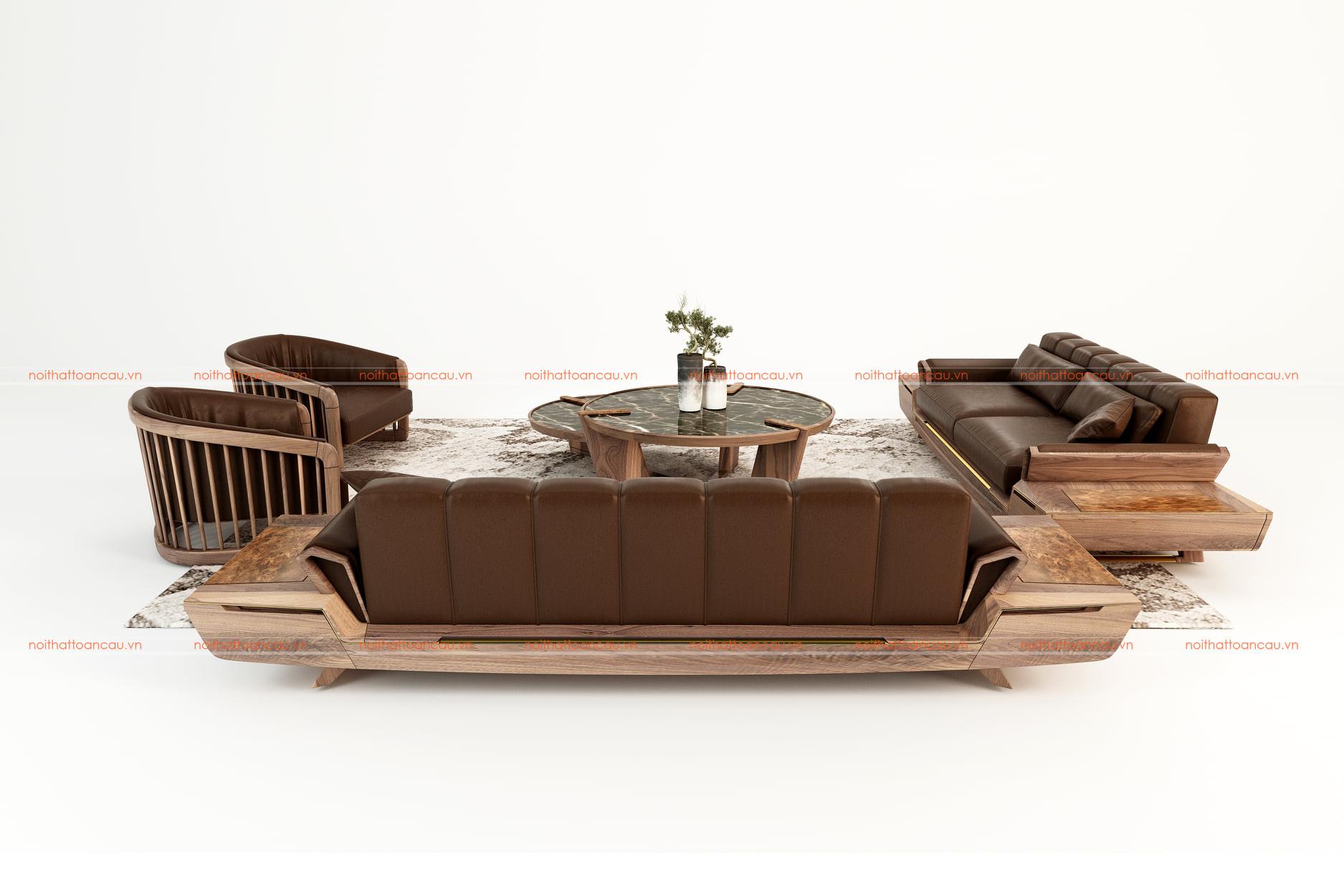 Bộ bàn ghế phòng khách bằng gỗ óc chó tự nhiên - TC146e