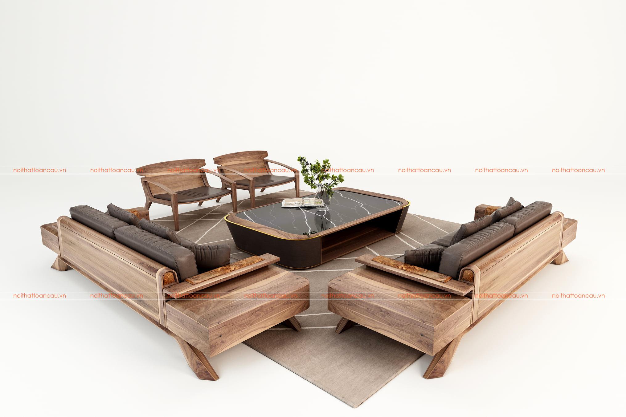 Sofa gỗ óc chó cho phòng khách 2