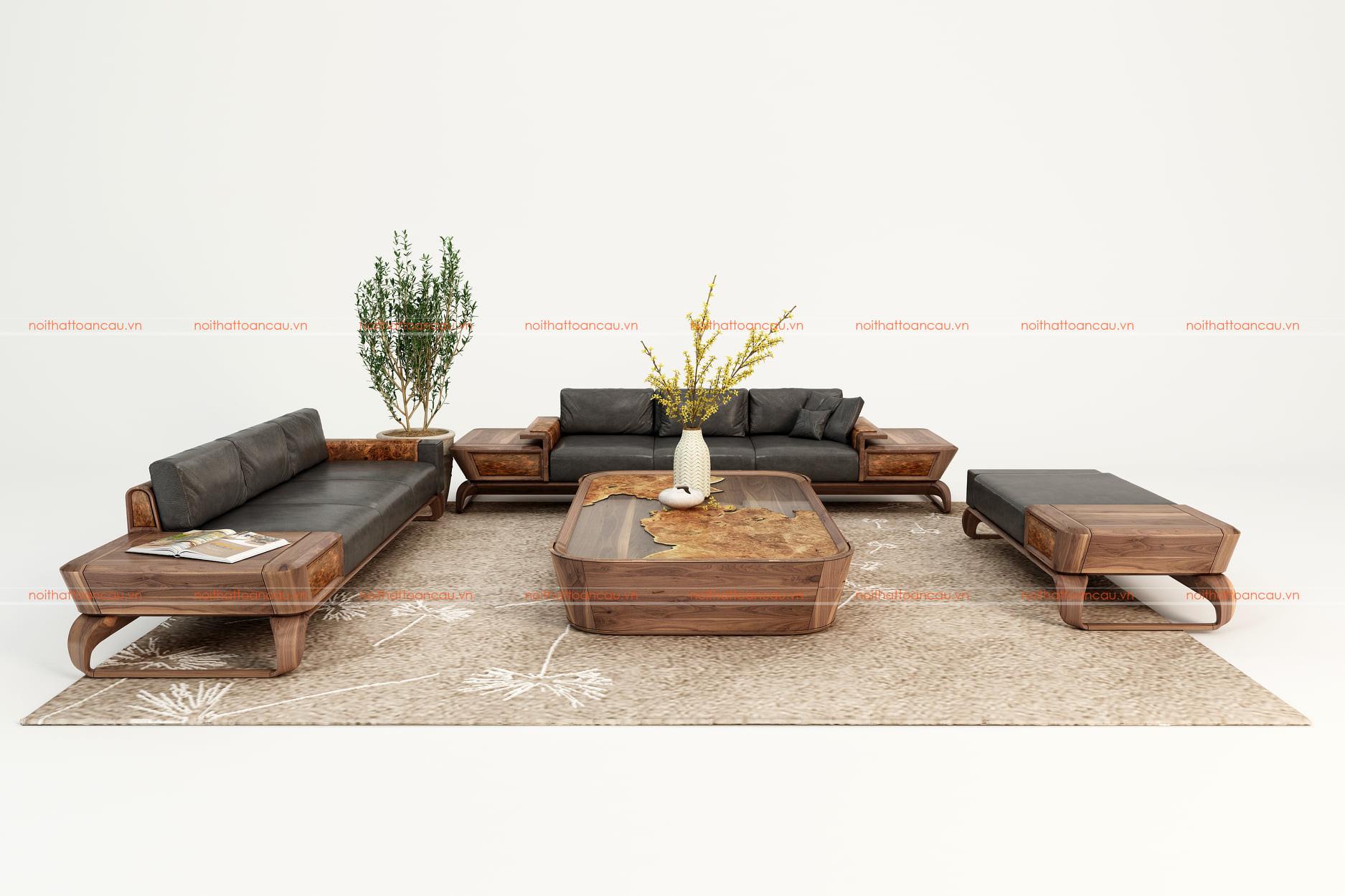 Bàn ghế sofa gỗ óc chó 7
