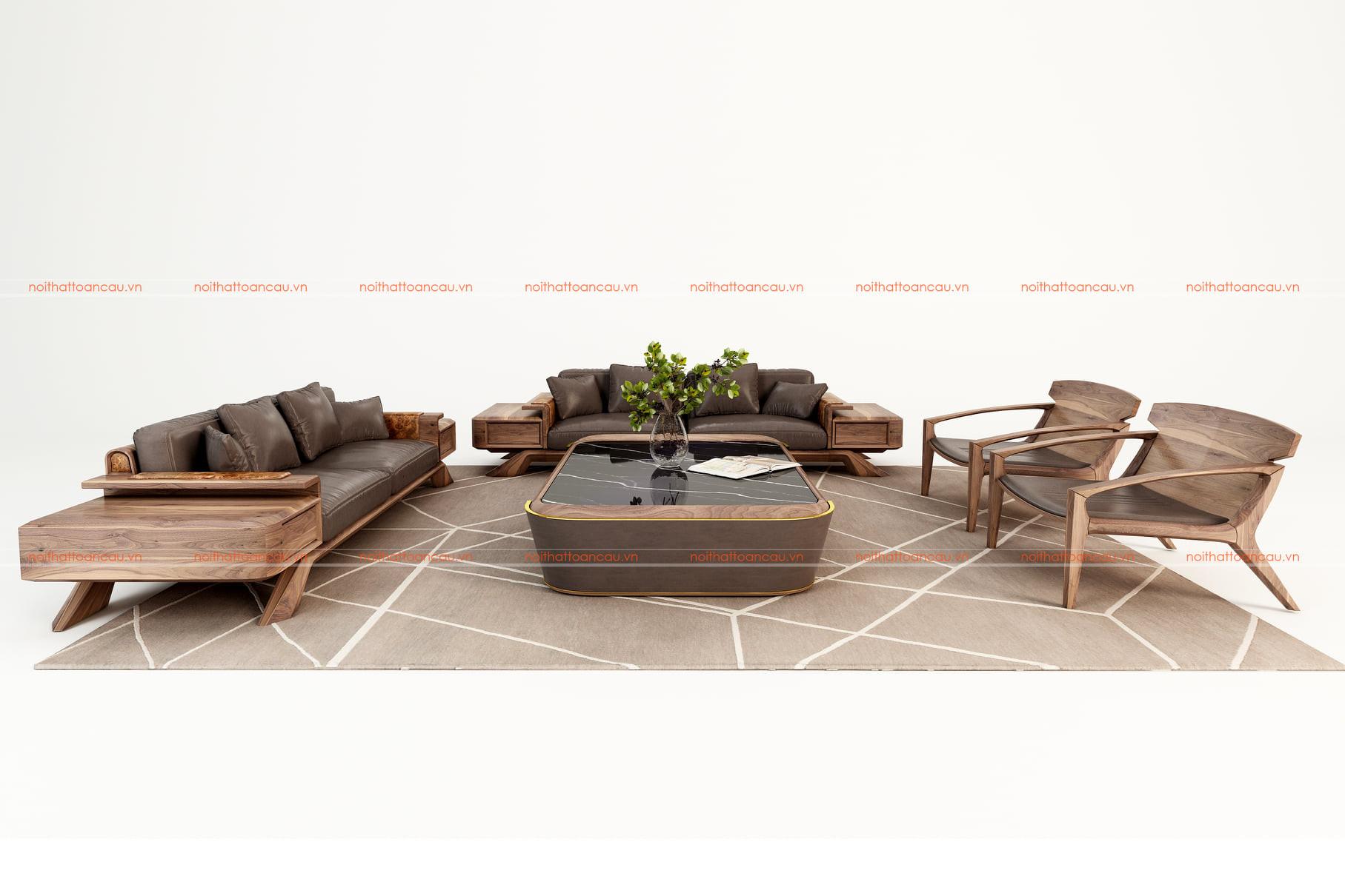 Sofa gỗ óc chó cho phòng khách 3