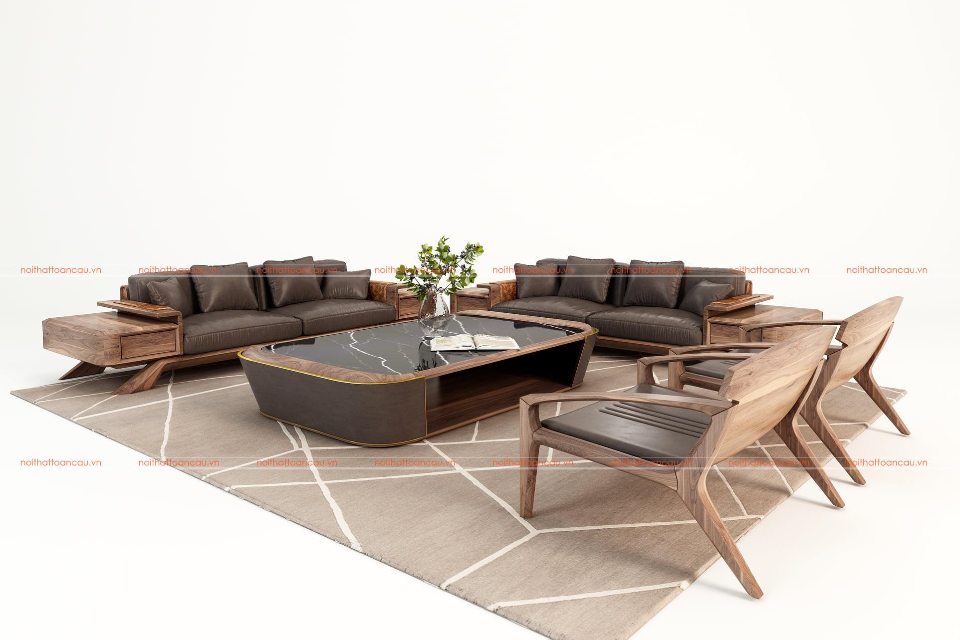 Sofa gỗ óc chó cho phòng khách 1