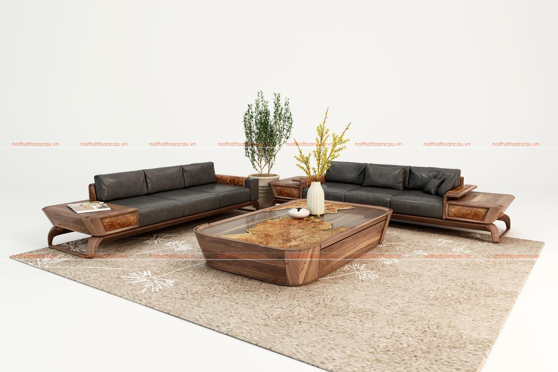 Bàn ghế sofa gỗ óc chó  5
