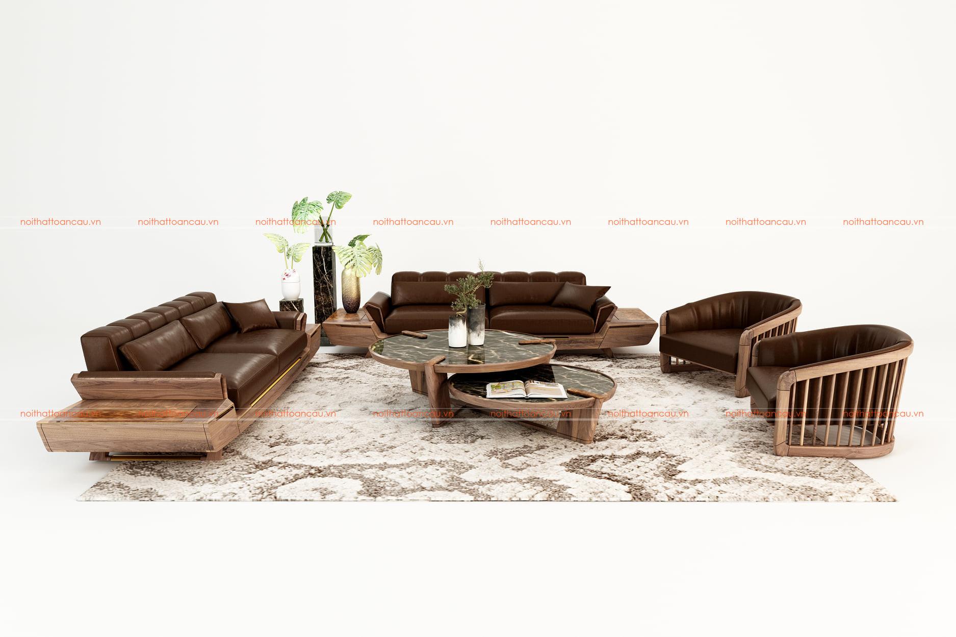 Bộ bàn ghế phòng khách bằng gỗ óc chó