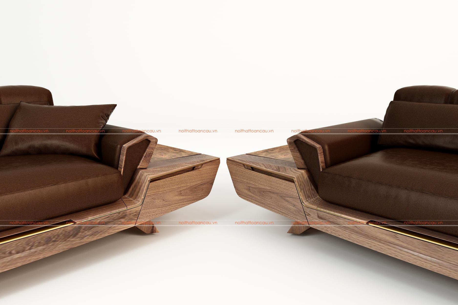 Bộ bàn ghế phòng khách bằng gỗ óc chó tự nhiên - TC146c