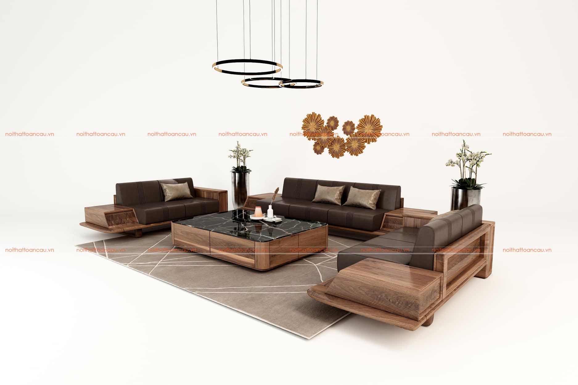 Sofa gỗ óc chó cho phòng khách hiện đại - TC140a