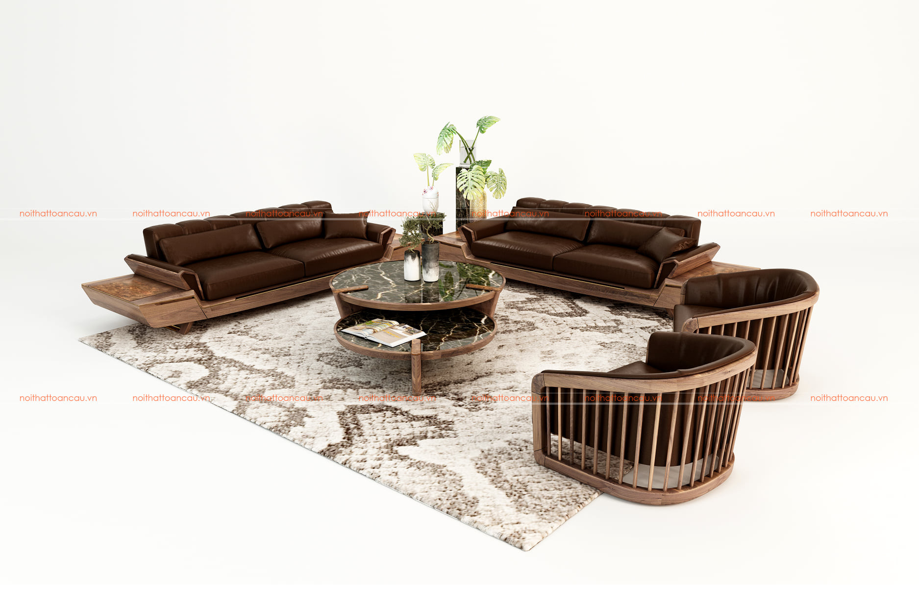 Bộ bàn ghế phòng khách bằng gỗ óc chó tự nhiên - TC146 b