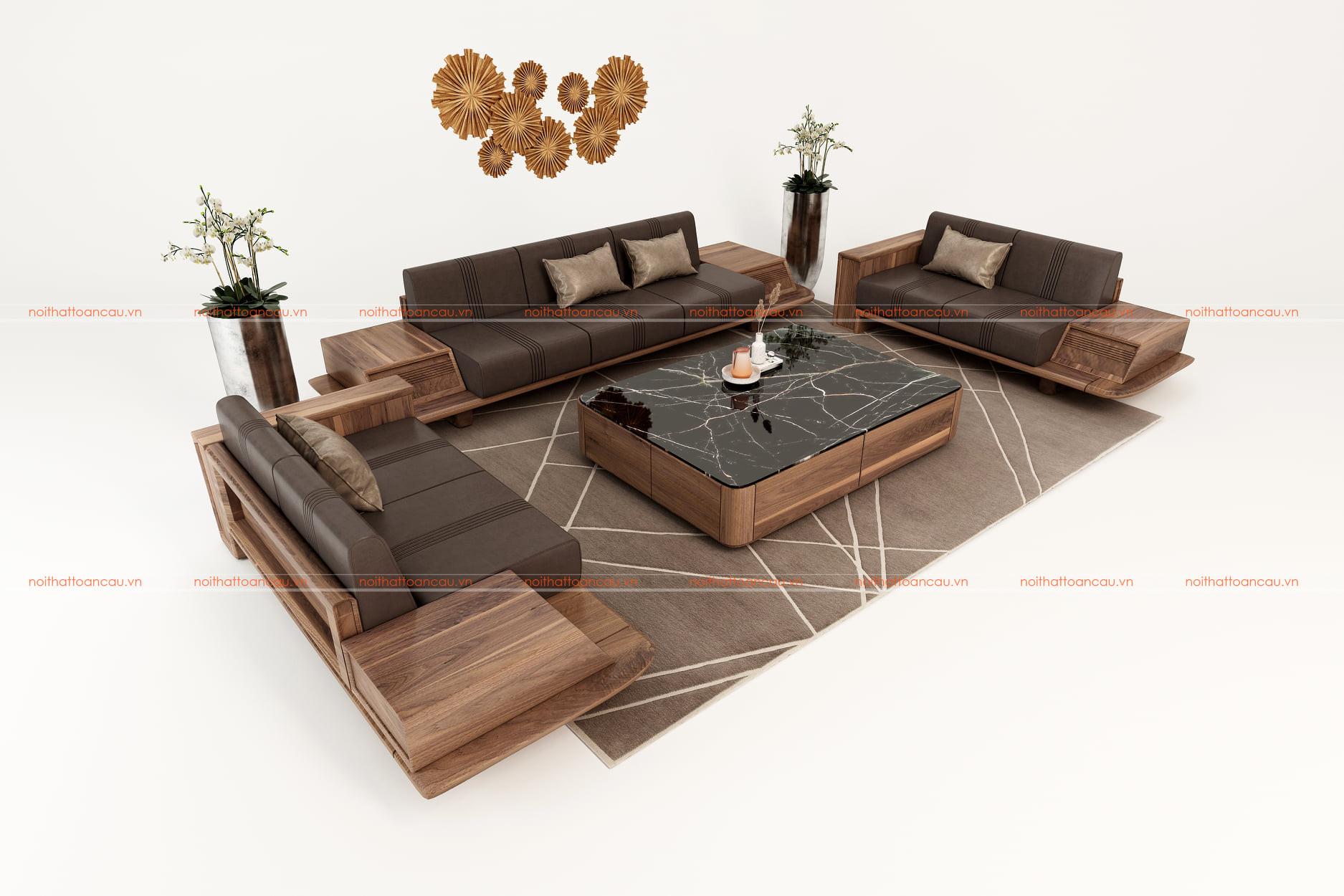 Sofa gỗ óc chó cho phòng khách hiện đại - TC140 b
