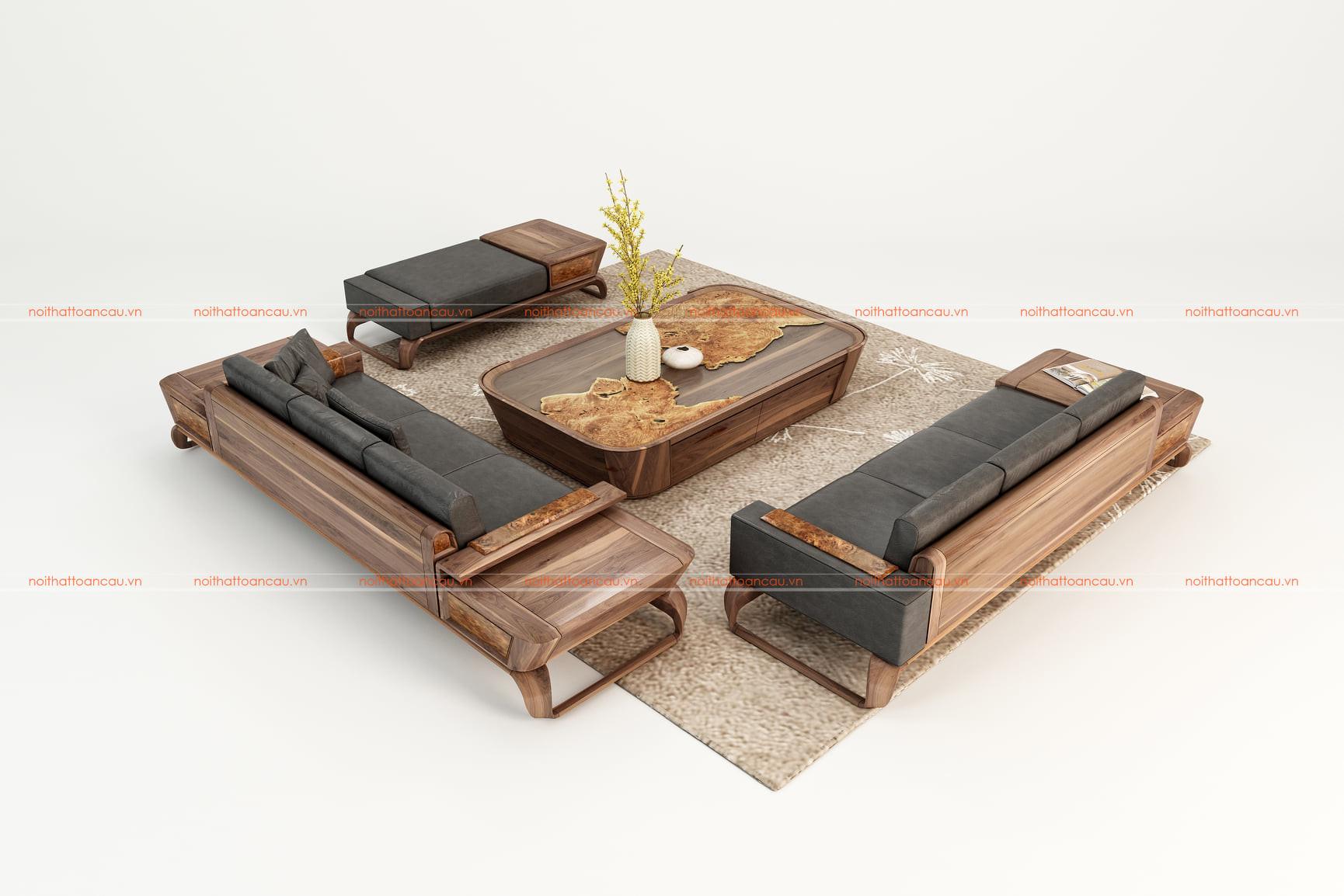 Bàn ghế sofa gỗ óc chó  6